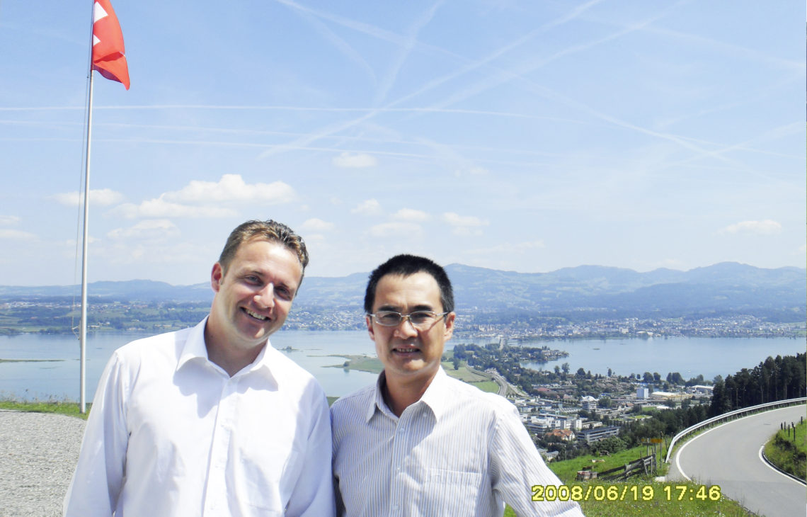 AXENT Co-Founders Daniel Grob and Frank Li Circa 2018