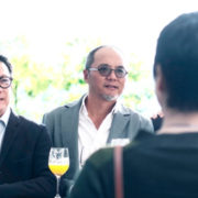 Mr. Steve Leung (first on the left) Mr. Guangci Qu, Contemporary Renowned Sculptor and Founder of X+Q Art (second on the left)